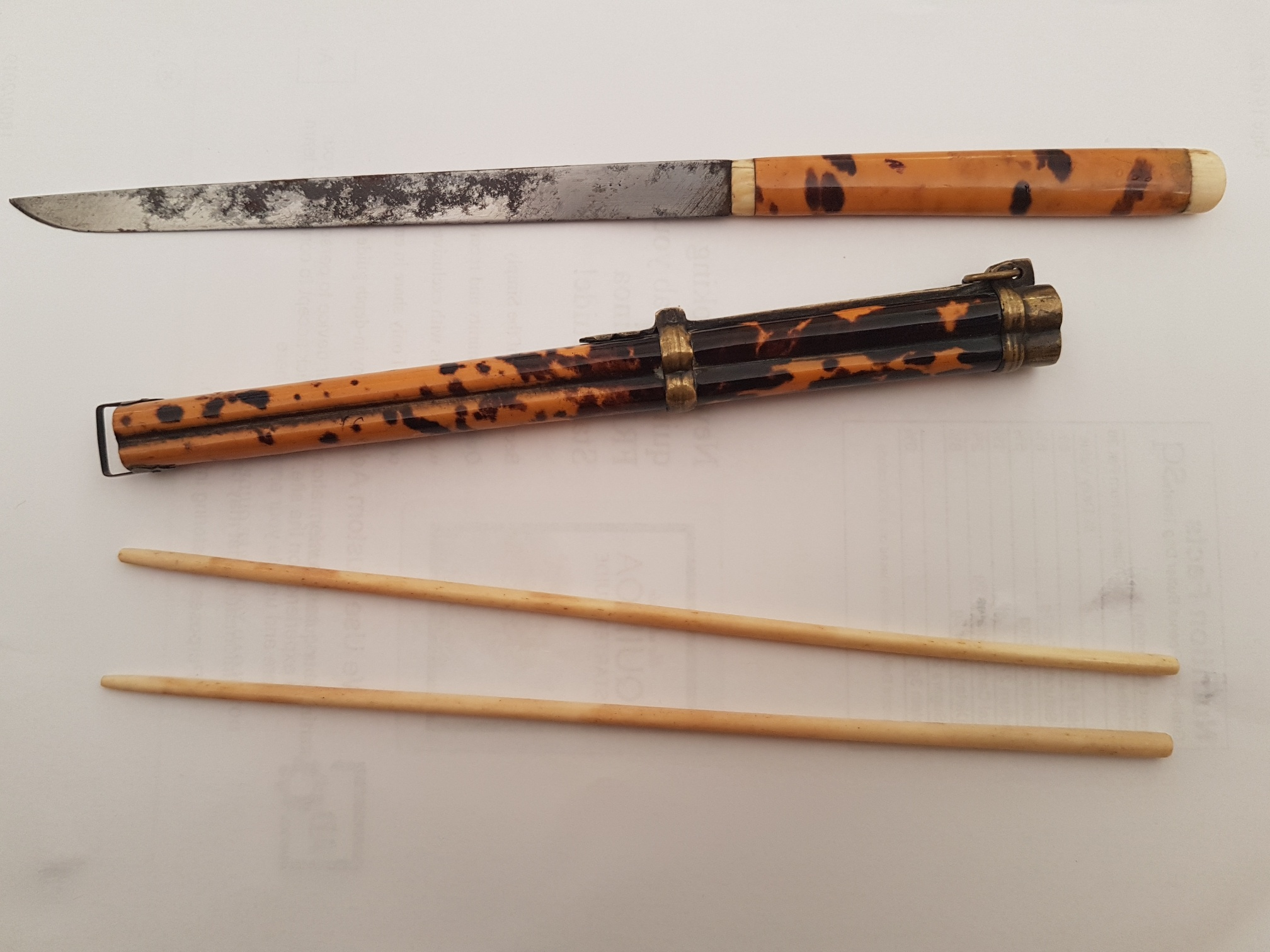 Antique 19th Century Tortoiseshell Chopstick Set - £295