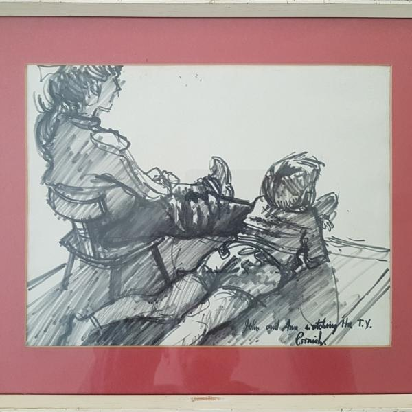 Norman Stansfield Cornish Original Drawing Titled John and Ann Watching TV - £2,700