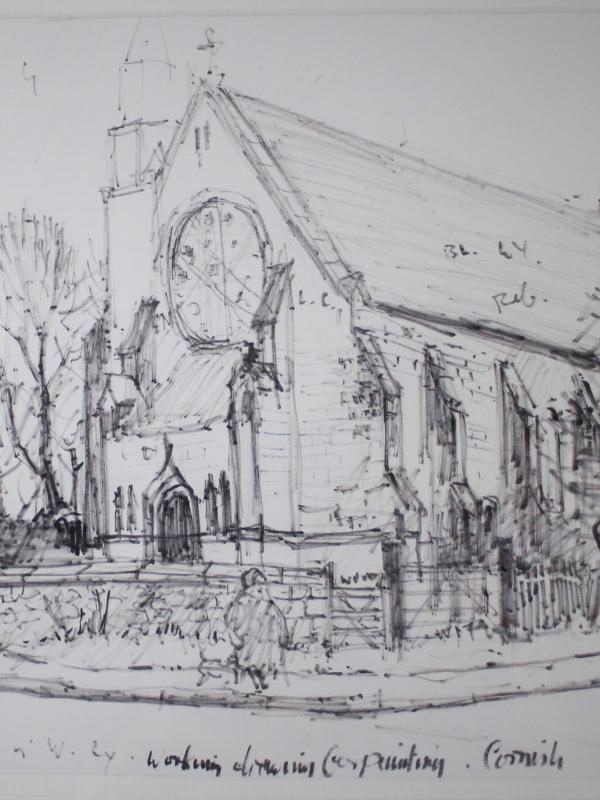 Norman Stansfield Cornish Working Drawing for St Charles' Church, Tudhoe - Price £1,600