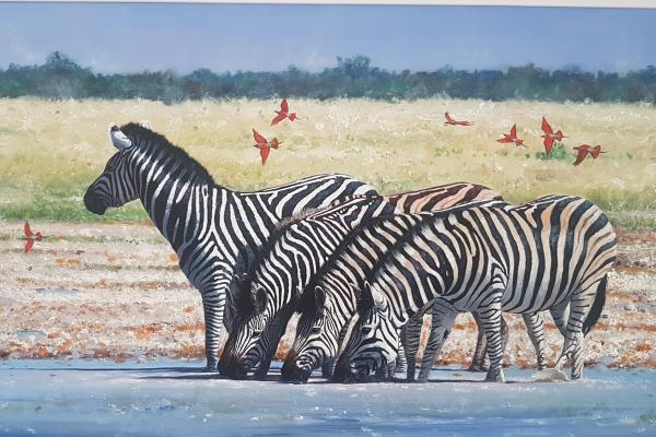 Large Framed Pip Mcgarry Original Oil Painting of Zebras at the Riverbank - Price £6,995